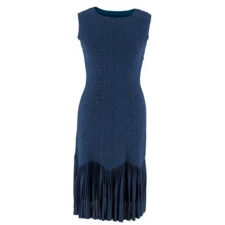 Alaia Navy Jacquard Sleeveless Dress
