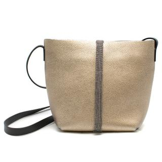 Brunello Cucinelli Metallic Leather Chain Trim Crossbody Bag