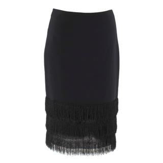 Sandro Black Jane Noir Fringed Pencil Skirt