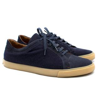 Loro Piana Blue Suede Lace-up Sneakers
