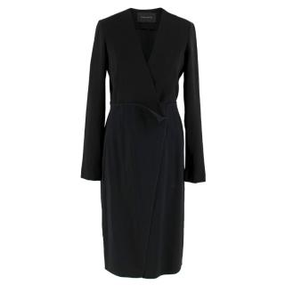 Cedric Charlier Black Playsuit Wrap Midi Dress