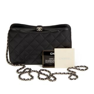 Chanel Black Quilted Leather Pouch-On-Chain