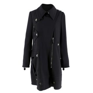 Burberry Black Wool Asymmetric Coat