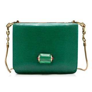 Bvlgari Emerald Green Lizard Box Bag W/ Jade & Cabochon Clasp