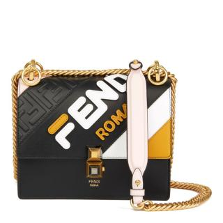 Fendi Multicolour Leather Logomania Mini Kan I Bag