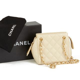 Chanel Vintage Caviar Leather Beige Mini Shoulder Bag