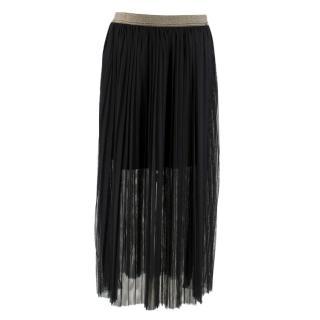 LiuJo Black Tulle Overlay Openwork Skirt