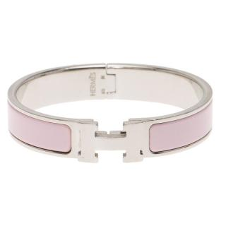 Hermes Pink Enamel & Palladium Clic H bracelet