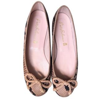 6770e082c Pretty Ballerinas Natural Python Embossed Ballerina Flats