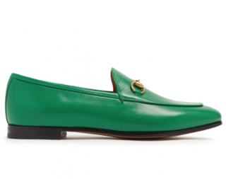 Gucci New Shamrock Jordaan Leather Loafers