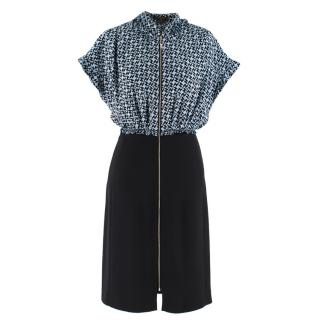 Louis Vuitton Blue and Black Printed Zip Front Dress