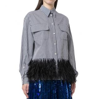 No.21 feathered checked shirt