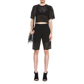 3.1 Phillip Lim Black Lasercut Bermuda Shorts