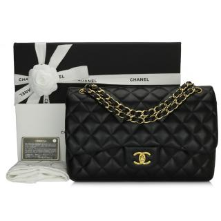 Chanel Black Lambskin Quilted Double Flap Jumbo Bag