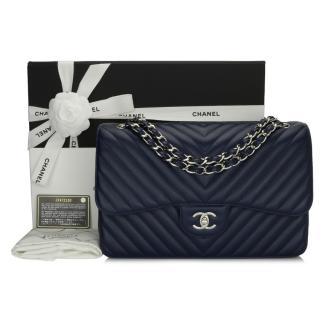 Chanel Navy Caviar Leather Chevron Double Flap Jumbo Bag