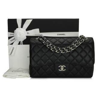 Chanel Black Caviar Classic Jumbo Double Flap Bag