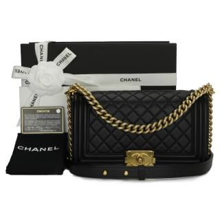 Chanel Black Calfskin Medium Quilted Calfskin Boy Bag