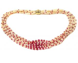 Vintage Ruby and Opal 6 strand bead necklace with 14ct gold clasp