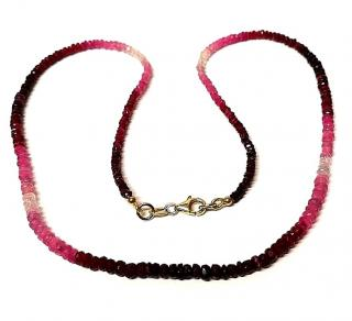 Ruby and tourmaline necklace with 18ct gold lobster claw clasp