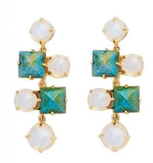 Lele Sadoughi hematite and milky stone chandelier earrings