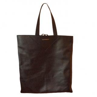 Emporio Armani Black Leather Shopper