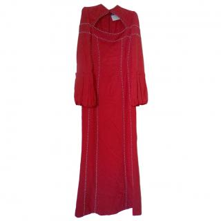 Alexander McQueen Red Pearl Embroidered Cut-Out Gown