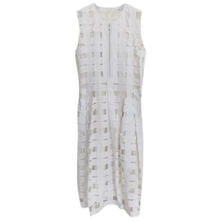Celine Sheer Check Cut-Out White Dress