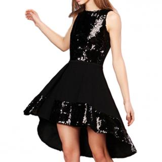 Vicedomini Black Sequin Embellished High-Low Sleeveless Dress