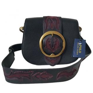Polo Ralph Lauren Leather & Suede Embroidered Mini Shoulder Flap