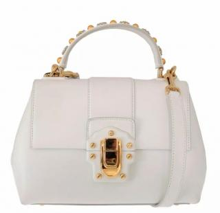 Dolce & Gabbana White & Gold Leather Lucia Bag