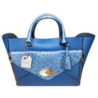 Mulberry Sea Blue Ostrich & Silky Calf Leather Large Willow Tote