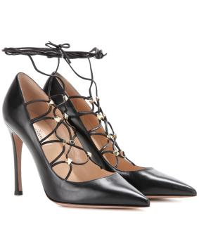 Valentino black l;rather lace up rockstud pumps