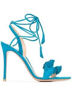 Gianvito Rossi Blue Suede Ruffle Trim Sandals