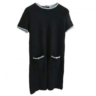 Yves Saint Laurent Black & White Wool Knit Dress