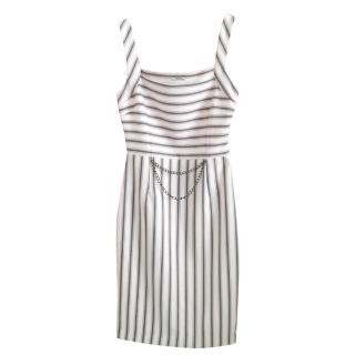 Miu Miu Striped Chain Detail Mini dress