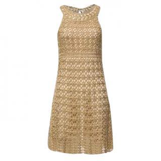 DVF metallic gold crochet dress