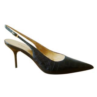 Dolce & Gabbana croc embossed Slingback Sandals