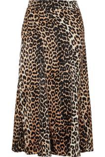 Ganni Leopard Print Silk Skirt