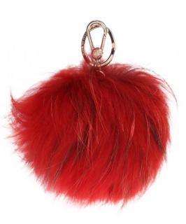 Furla red fox fur key charm