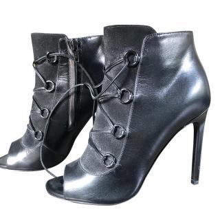 Saint Laurent Black Lace-Up Ankle Boots