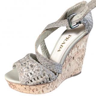 Prada Woven Cork Wedge Sandals