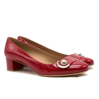 Salvatore Ferragamo Red Patent Pumps