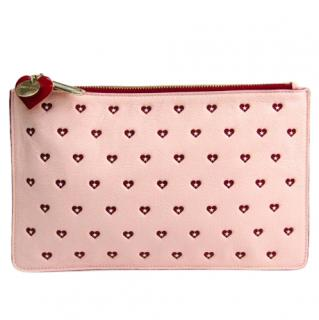 Jimmy Choo Pink & Red Heart Print Pouch