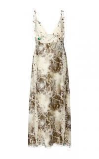 Christopher Kane Marble Print Embellished Silk Dres