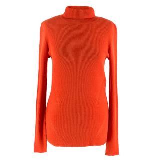 Diane von Furstenberg Merino Wool Orange Ribbed Knit Sweater