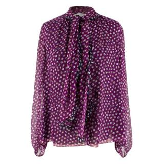 Diane Von Furstenberg Purple Silk Spotted Top