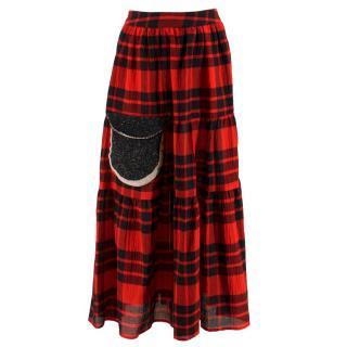 Tsumori Chisato Red Tartan Wool Skirt