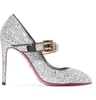 Gucci Crystal Embellished Glitter Sylvie Pumps