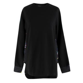 Tim Coppens Black Swallow Print High-Low Jumper