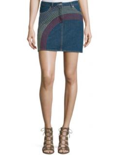 See By Chloe Rainbow Embroidered Denim Mini Skirt